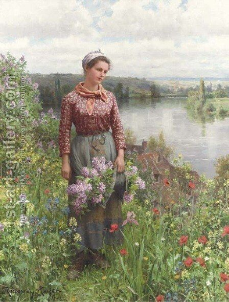 Gathering Lilacs by Daniel Ridgway Knight - Reproduction Oil Painting