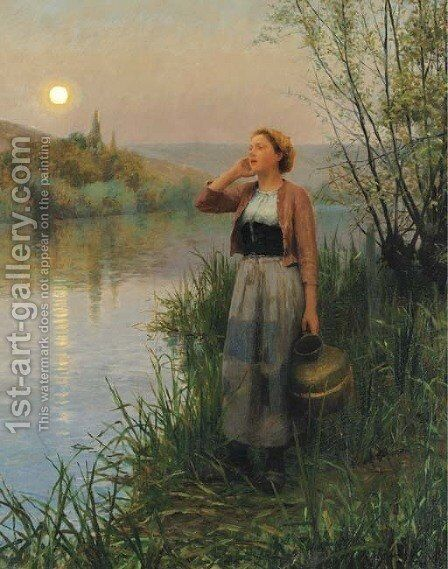 Hailing the Ferry, Twilight by Daniel Ridgway Knight - Reproduction Oil Painting