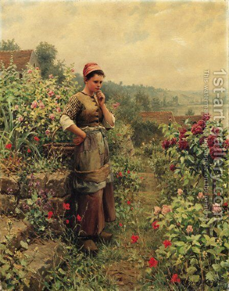 In a Normandy Garden by Daniel Ridgway Knight - Reproduction Oil Painting