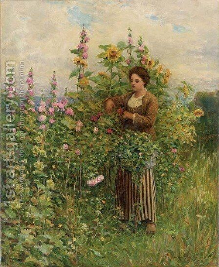 In the Flower Garden by Daniel Ridgway Knight - Reproduction Oil Painting