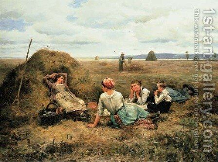The Harvesters Resting 2 by Daniel Ridgway Knight - Reproduction Oil Painting