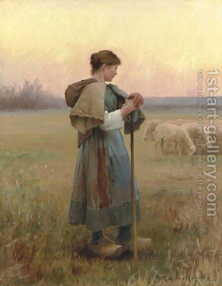 The Young Shepherdess by Daniel Ridgway Knight - Reproduction Oil Painting