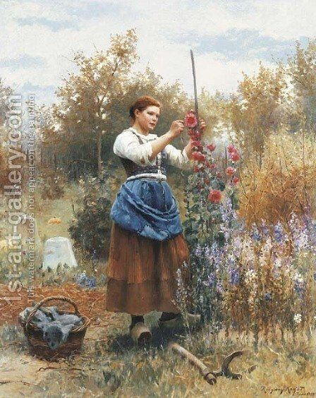 Tying up the Hollyhocks by Daniel Ridgway Knight - Reproduction Oil Painting
