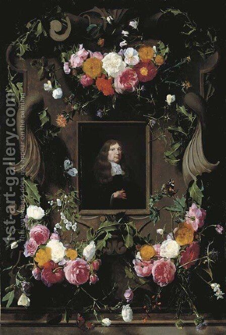 A cartouche surrounded by garlands of roses, thistle, holly and other flowers and butterflies with a later portrait of a gentleman, seated, bust-lengt by Daniel Seghers - Reproduction Oil Painting