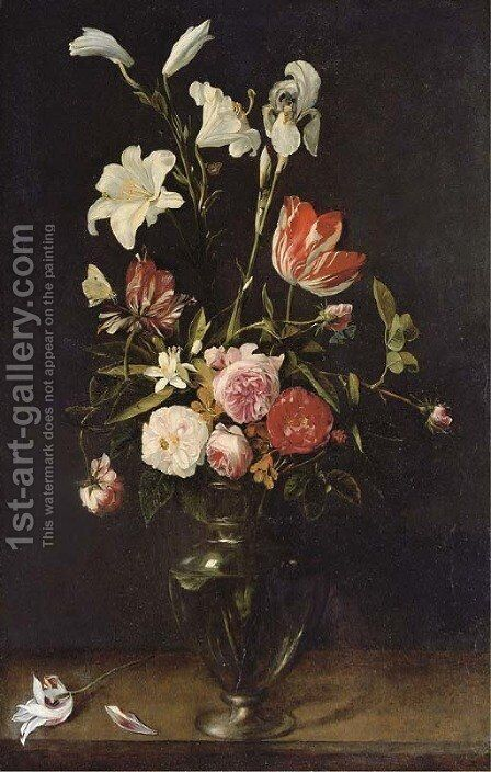 Lilies, roses and tulips in a glass vase on a wooden ledge with butterflies by Daniel Seghers - Reproduction Oil Painting