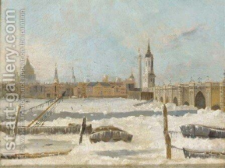 Old London Bridge with the Thames partially frozen by Daniel Turner - Reproduction Oil Painting