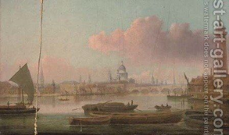 View on the Thames with Blackfriars Bridge and St. Paul's Cathedral beyond by Daniel Turner - Reproduction Oil Painting