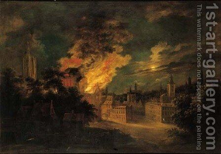 A fire in Brussels at night by Daniel van Heil - Reproduction Oil Painting