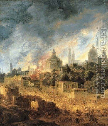 The Burning of Troy by Daniel van Heil - Reproduction Oil Painting