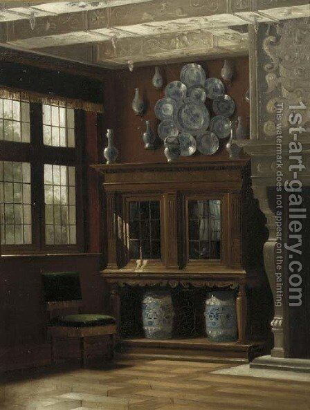 Interior of a Danish manor house by Danish School - Reproduction Oil Painting