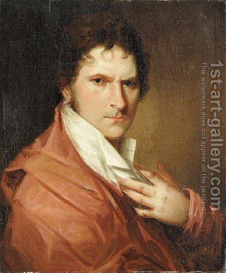 Portrait of a gentleman, bust length, in a red cloak and white shirt by Danish School - Reproduction Oil Painting