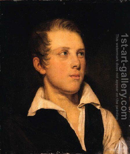 Portrait of a Gentleman, bust length, in a black waistcoat and white shirt by Danish School - Reproduction Oil Painting