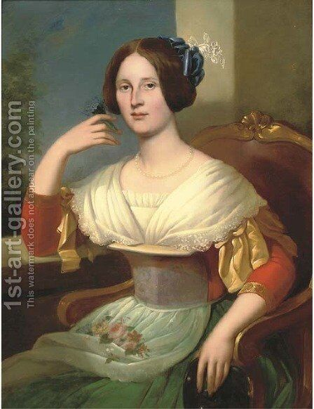 Portrait of a lady by Danish School - Reproduction Oil Painting