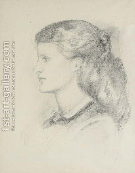 Portrait of Annie Miller, bust-length, in profile to left by Dante Gabriel Rossetti - Reproduction Oil Painting