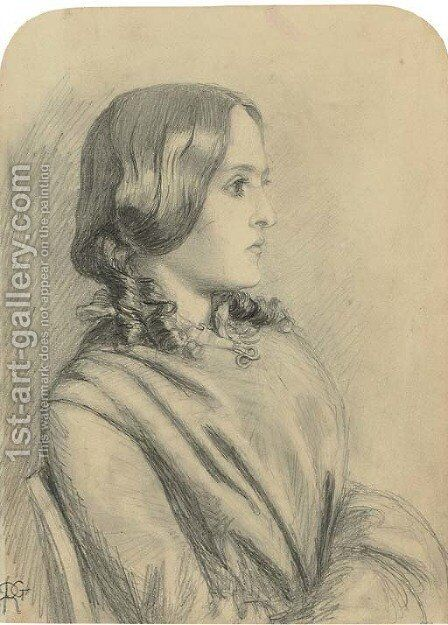 Portrait of Margaret Thompson, half-length, in profile to the right by Dante Gabriel Rossetti - Reproduction Oil Painting