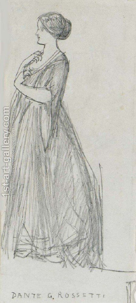 Study of a standing female figure, facing left by Dante Gabriel Rossetti - Reproduction Oil Painting