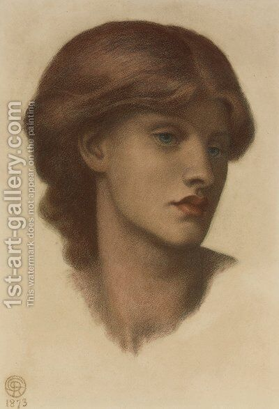 Study of Alexa Wilding, her head turned three-quarters to the right by Dante Gabriel Rossetti - Reproduction Oil Painting