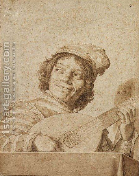 A boy playing a lute, after Frans Hals by David Bailly - Reproduction Oil Painting