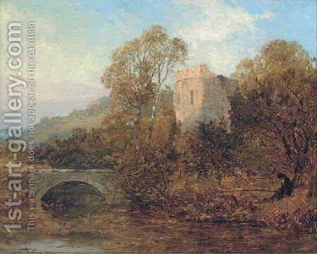 An angler by a castle ruin by David Bates - Reproduction Oil Painting