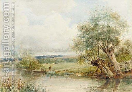 The Swan's Neck on the Avon, Near Defford by David Bates - Reproduction Oil Painting