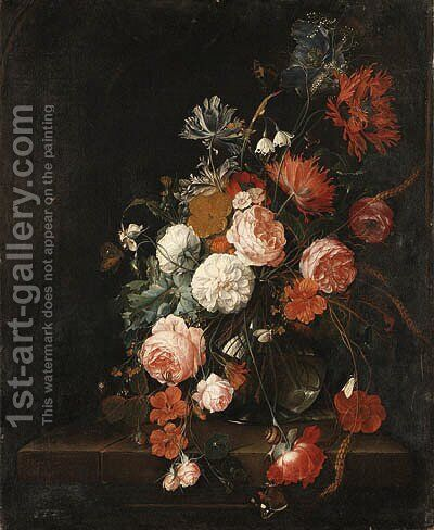 Roses, Poppies, Ears of Corn and other Flowers in a glass Vase, with Snails, a Moth, a Spider and a Butterfly on a stone Ledge by David Cornelisz. de Heem - Reproduction Oil Painting