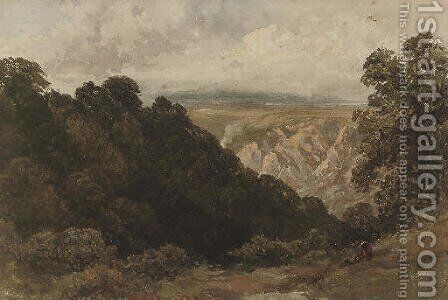 A figure looking over a mountainous landscape by David Cox - Reproduction Oil Painting
