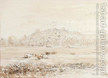 Richmond Castle, Yorkshire from the meadows by David Cox - Reproduction Oil Painting