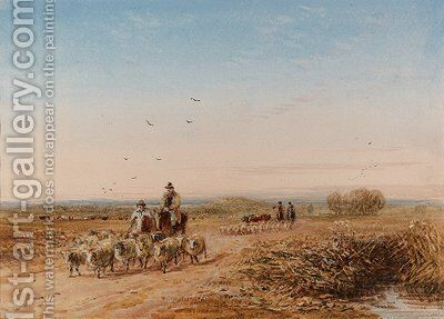 Shepherds driving their sheep by David Cox - Reproduction Oil Painting