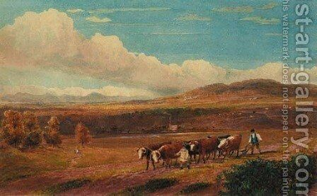 Ploughing with Oxen in Herefordshire with Stone Park and the Malvern Hills in the distance by David Cox - Reproduction Oil Painting