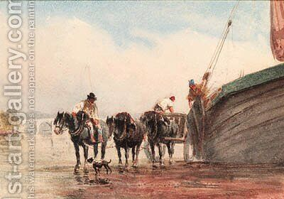 Unloading a boat on the Thames at low tide, London by David Cox - Reproduction Oil Painting