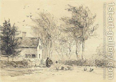 A figure feeding chickens before a cottage by David Cox - Reproduction Oil Painting