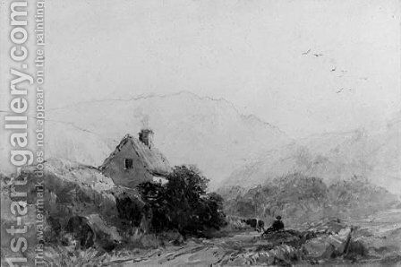 A figure seated on the side of a track, below a cottage by David Cox - Reproduction Oil Painting
