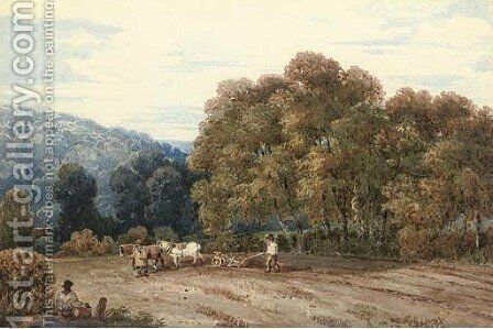 A horsedrawn plough in an extensive landscape by David Cox - Reproduction Oil Painting