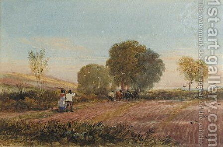 A ploughing scene in Surrey by David Cox - Reproduction Oil Painting
