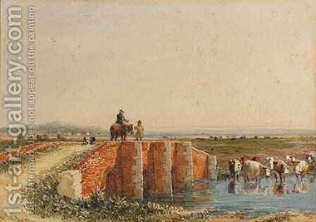 Figures crossing a bridge, cattle watering below by David Cox - Reproduction Oil Painting