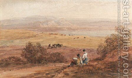 Figures in a rural landscape with the sea beyond by David Cox - Reproduction Oil Painting
