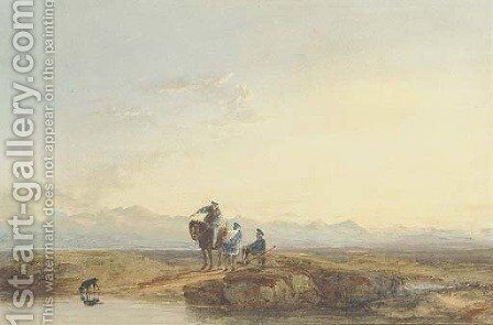Figures in highland dress by David Cox - Reproduction Oil Painting