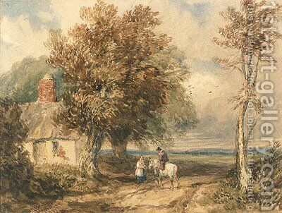 Figures on a track by a cottage, Wales by David Cox - Reproduction Oil Painting