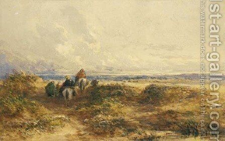 Figures on horseback among the sand dunes by David Cox - Reproduction Oil Painting