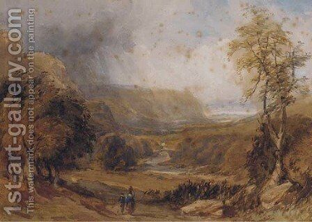 In a Welsh valley by David Cox - Reproduction Oil Painting