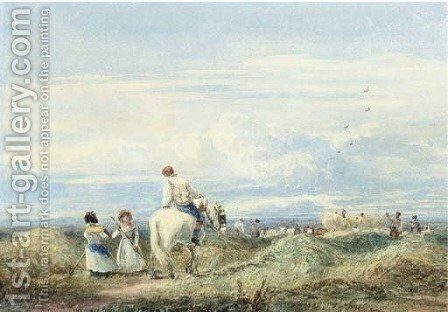 In the hayfield 2 by David Cox - Reproduction Oil Painting