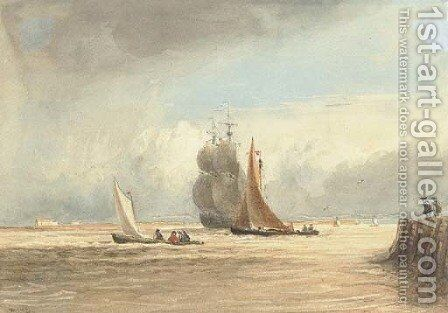 Shipping off Gravesend by David Cox - Reproduction Oil Painting