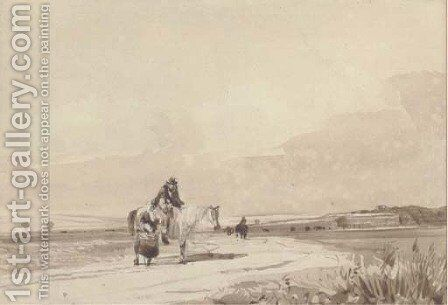Travellers on a road by David Cox - Reproduction Oil Painting