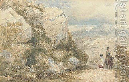 Travellers on a road, North Wales by David Cox - Reproduction Oil Painting
