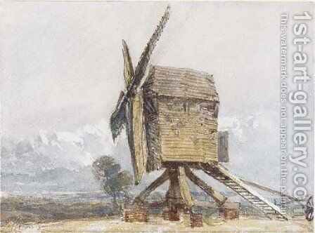 Windmill in a landscape by David Cox - Reproduction Oil Painting