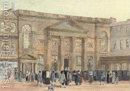 The Pump Room, Bath by David Cox - Reproduction Oil Painting