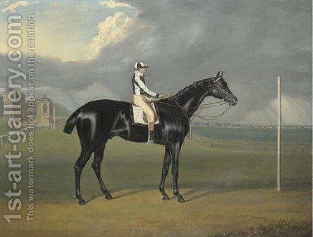 Jerry, winner of the 1824 St. Leger, with Ben Smith up, by a post at Doncaster by David of York Dalby - Reproduction Oil Painting