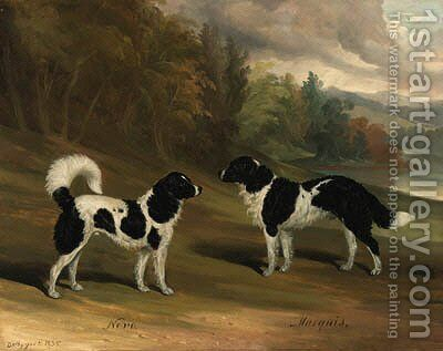 Nero and Marquis, two Landseer newfoundlands, in a wooded lake landscape by David of York Dalby - Reproduction Oil Painting