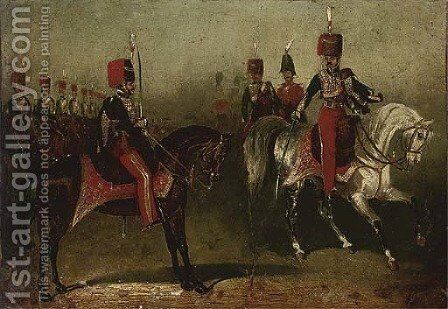 11th Hussars on parade by David of York Dalby - Reproduction Oil Painting