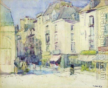 Streetscene, Dieppe by David Davies - Reproduction Oil Painting